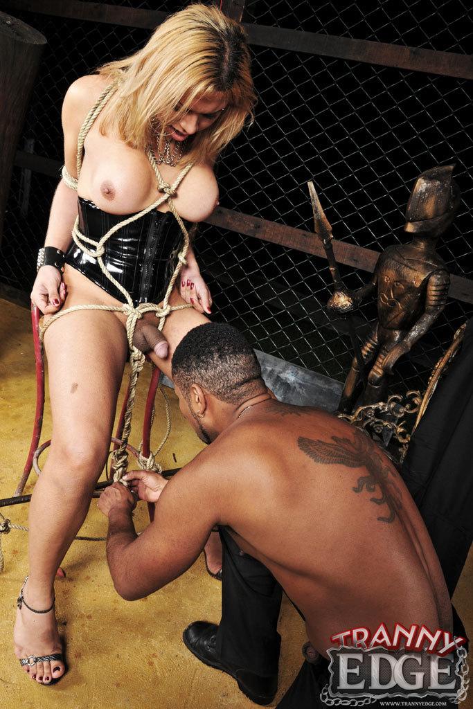Blonde T-Girl Enslaved And Guy Handled
