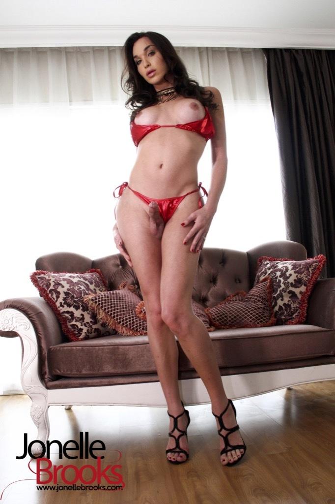 Jonelle Wearing A Spicy Red Bik