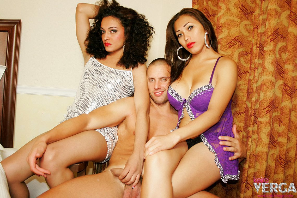 Two SUPER HOT Transexuals Grabbing The Tool Of A Hung Dude