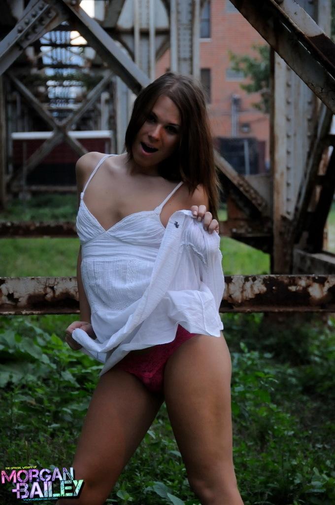 Wonderful Ladyboy Ashley Stripping Outdoors